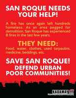 Philippines, Call for Support re San Roque Fire